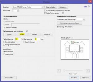 Bastelvorlage Ritterburg/Prinzessinnenschloss - Posterdruck eines PDF im Adobe Acrobat Reader